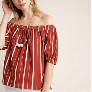 By Anthropologie OTS Green Stripe Blouse